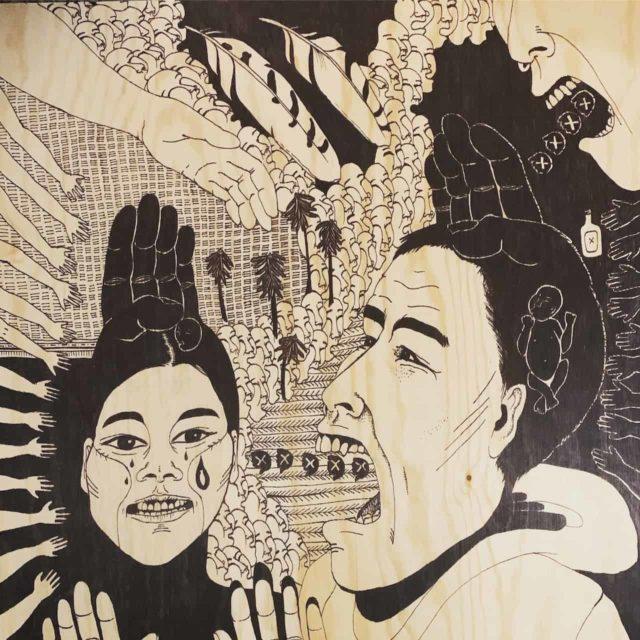 © Amber Webb pandemic art. Linking ACES, trauma, abuse, oppression.